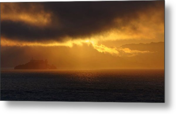 Sunset Over Alcatraz Metal Print