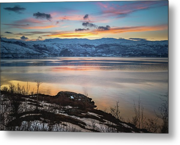 Sunset Over Altafjord Norway Metal Print
