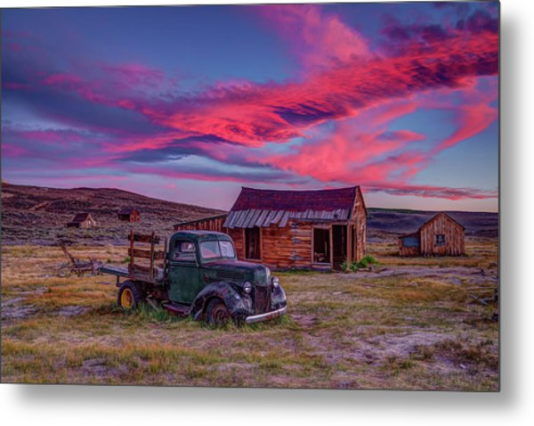 Sunset Over Bodie's Green Truck Metal Print