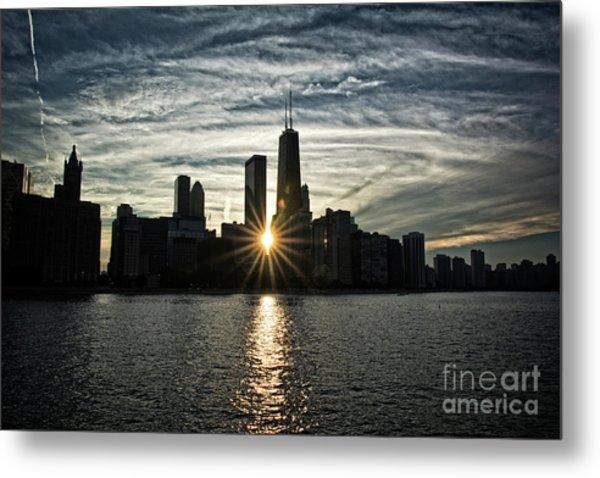 Sunset Over Chicago Skyline And Lake Michigan Metal Print