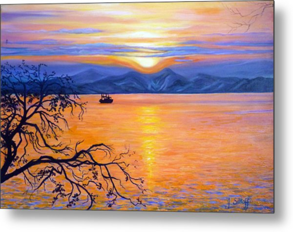 Sunset Over Eastern Russia Metal Print by Janet Silkoff