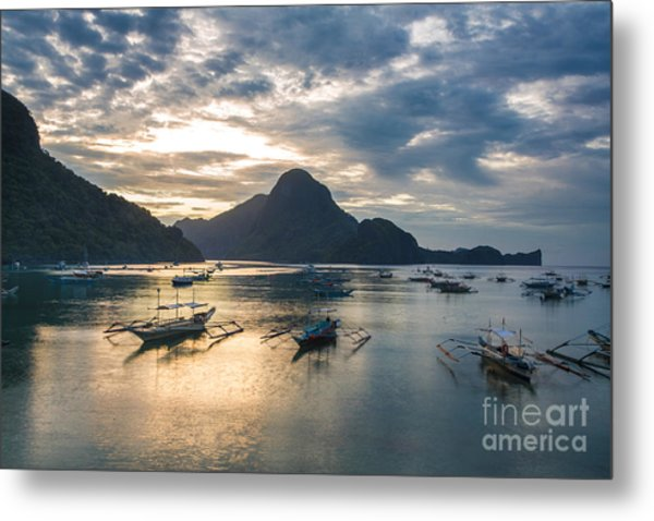 Sunset Over El Nido Bay In Palawan, Philippines Metal Print