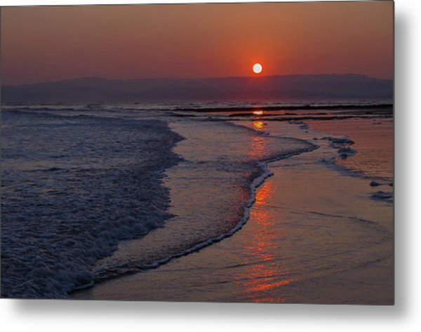 Sunset Over Exmouth Beach Metal Print