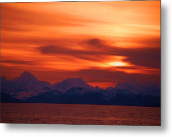 Sunset Over Glacier Bay Metal Print