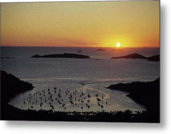 Sunset Over Great Cruz Bay Metal Print