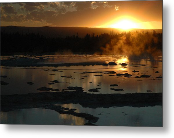 Sunset Over Great Fountain Geyser In Yellowstone National Park Metal Print