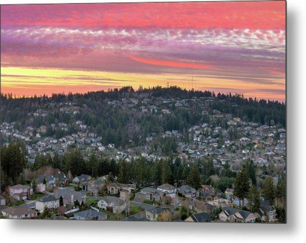 Sunset Over Happy Valley Residential Neighborhood Metal Print