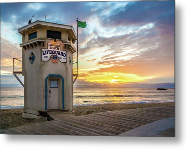 Sunset Over Laguna Beach Lifeguard Station Metal Print