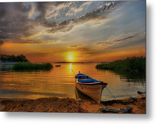 Sunset Over Lake Metal Print
