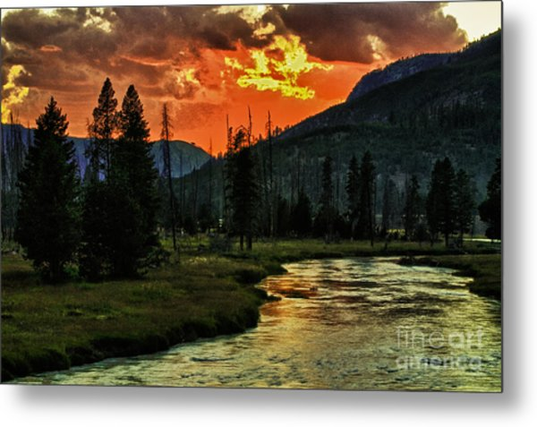 Sunset Over Madison River Metal Print