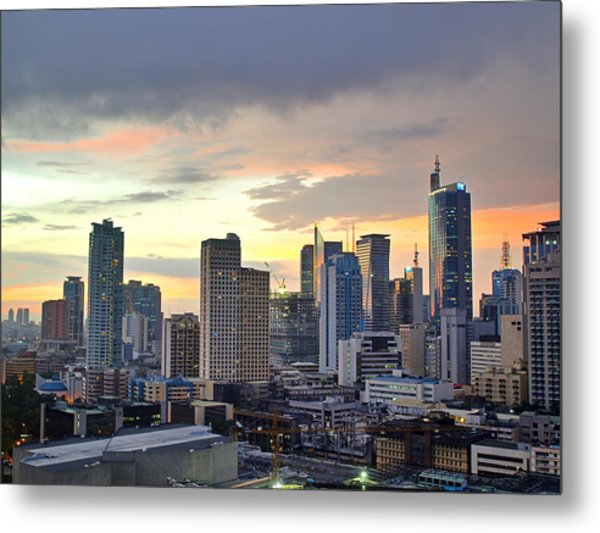 Sunset Over  Makati City, Manila Metal Print by Neil Howard