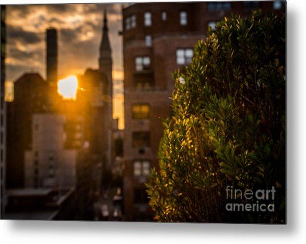Sunset Over Manhattan New York City Metal Print