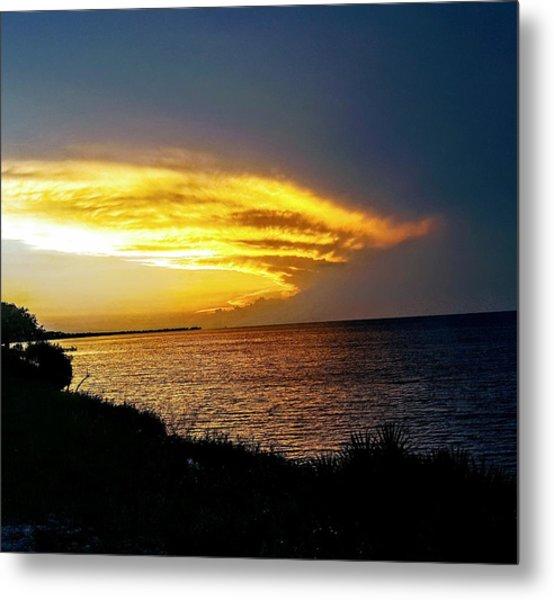 Sunset Over Mobile Bay Metal Print