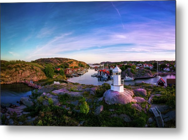Sunset Over Old Fishing Port - Aerial Photography Metal Print
