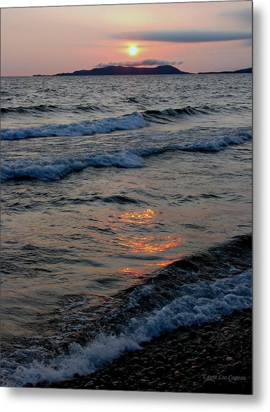 Sunset Over Pic Island Metal Print by Laura Wergin Comeau