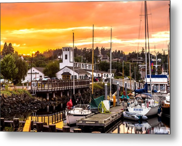 Metal Print featuring the photograph Sunset Over Port Townsend by TL  Mair