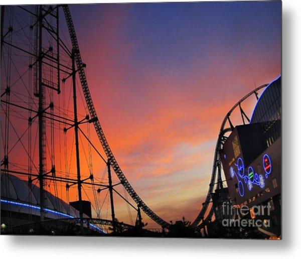 Sunset Over Roller Coaster Metal Print