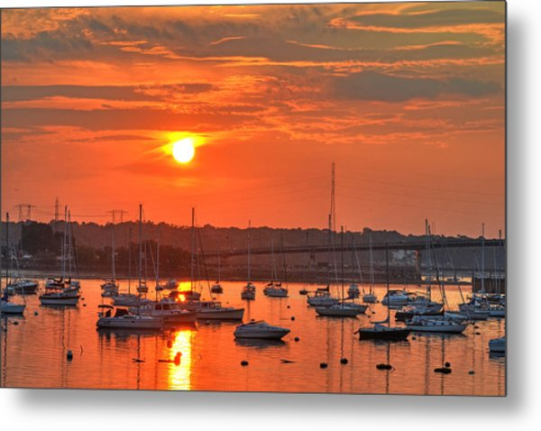 Sunset Over Salem Harbor Salem Beverly Bridge 2 Metal Print