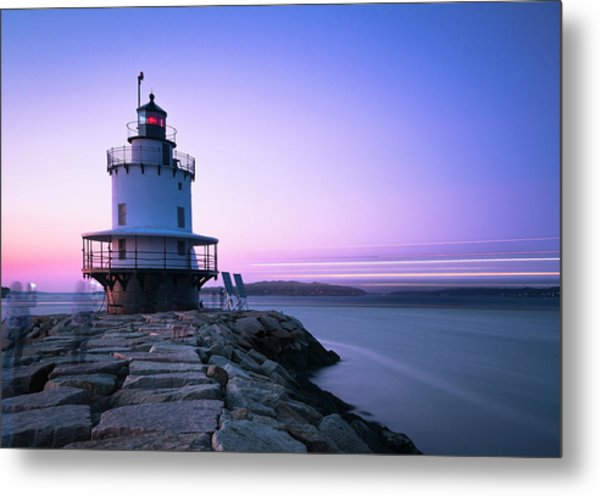 Sunset Over Spring Breakwater Lighthouse In South Maine Metal Print