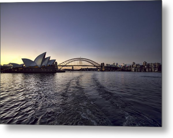 Sunset Over Sydney Harbor Bridge And Sydney Opera House Metal Print
