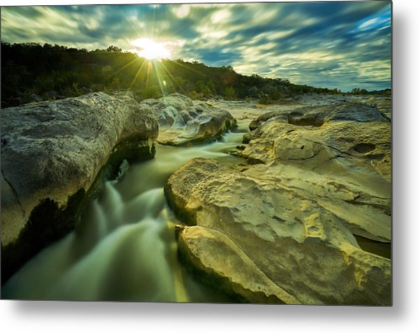 Sunset Over The Cascade Metal Print