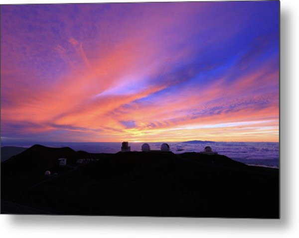 Sunset Over The Clouds Metal Print