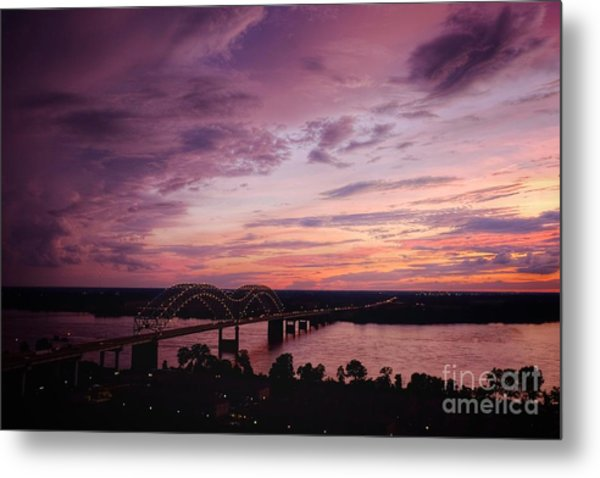 Sunset Over The I40 Bridge In Memphis Tennessee  Metal Print