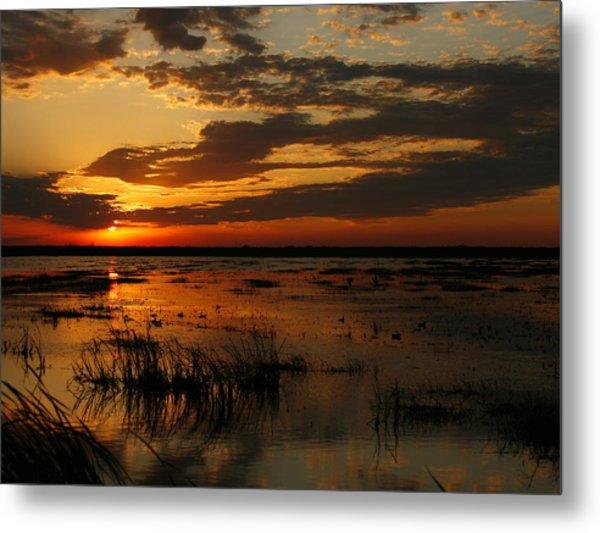 Sunset Over The Marsh Metal Print