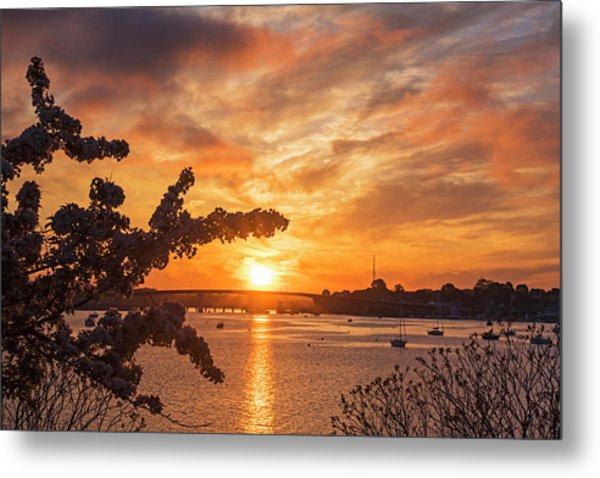 Sunset Over The Salem Beverly Bridge From The Salem Willows Salem Ma Metal Print