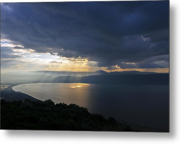 Sunset Over The Sea Of Galilee Metal Print