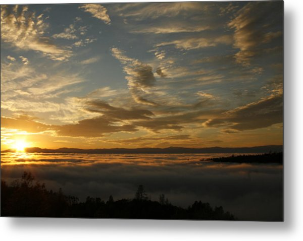 Sunset Over The Valley Fog Metal Print