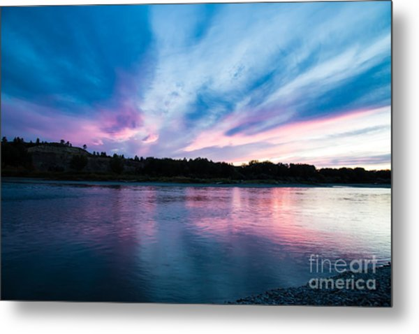 Sunset Over The Yellowstone Metal Print