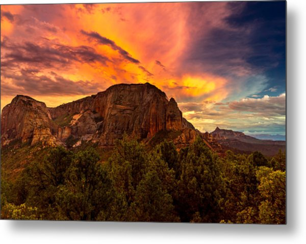 Sunset Over Timber Top Mountain Metal Print