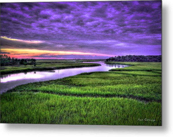 Sunset Over Turners Creek Savannah Tybee Island Ga Metal Print