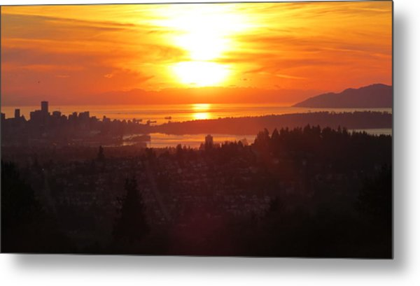 Sunset Over Vancouver Metal Print