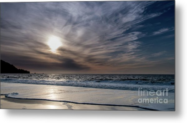 Sunset Over West Coast Beach With Silk Clouds In The Sky Metal Print