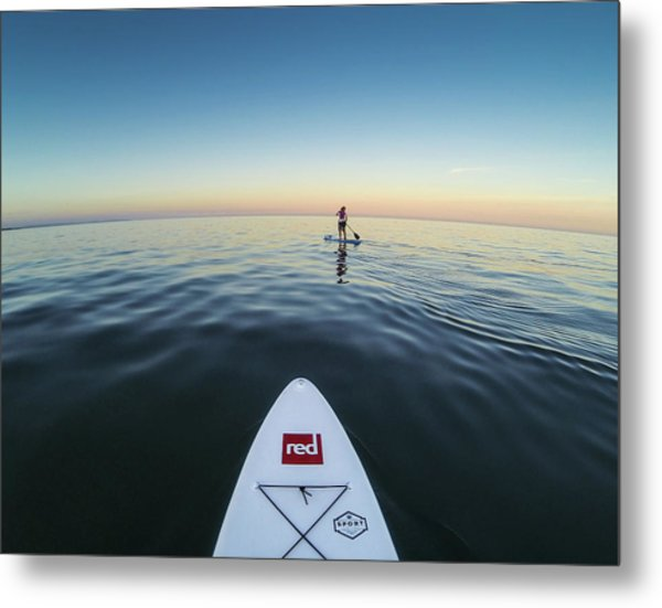 Metal Print featuring the photograph Sunset Paddle Boarding by Will Gudgeon