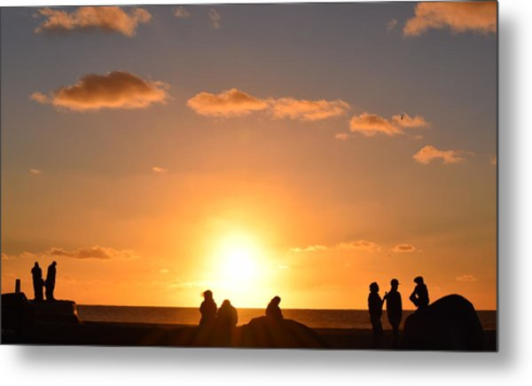 Sunset People In Imperial Beach Metal Print