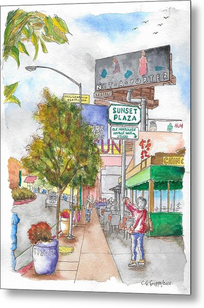 Sunset Plaza, Sunset Blvd., And Londonderry, West Hollywood, California Metal Print