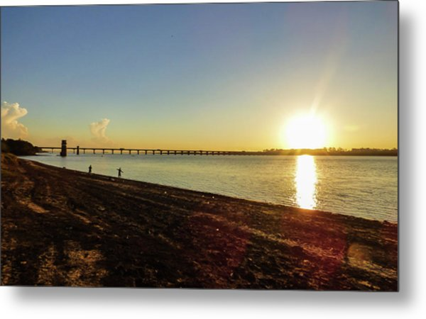 Sunset Reflecting On The Uruguay River Metal Print