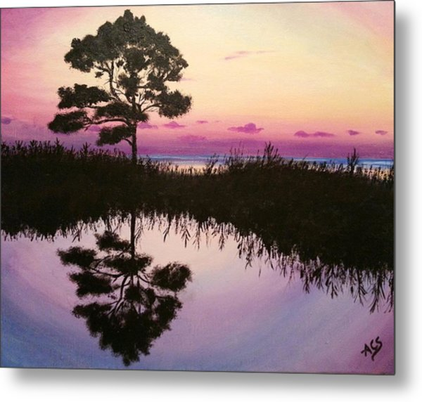 Metal Print featuring the painting Sunset Reflection by Amelie Simmons