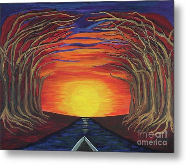 Treetop Sunset River Sail Metal Print
