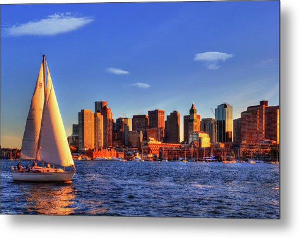 Sunset Sail On Boston Harbor Metal Print