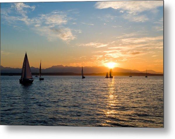 Sunset Sailboats Metal Print by Tom Dowd