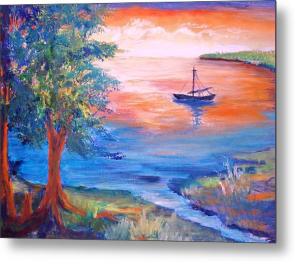 Sunset Sailing Metal Print by Anne Dentler