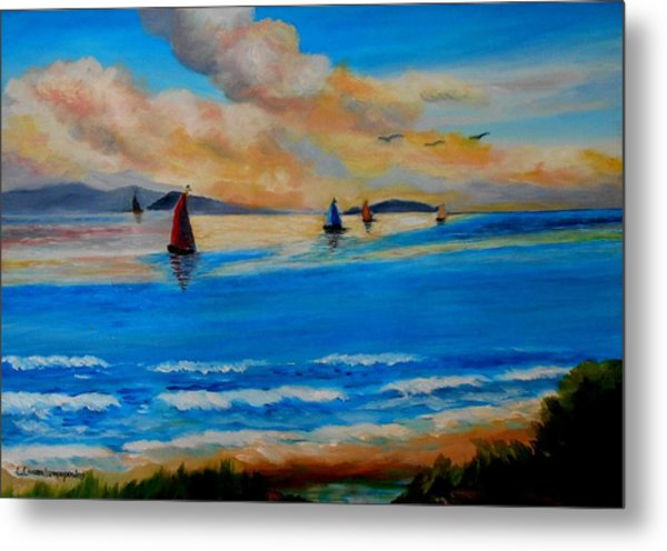 Sunset Sailing Metal Print