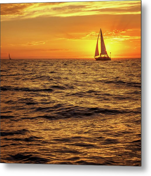 Sunset Sailing Metal Print by Steve Spiliotopoulos