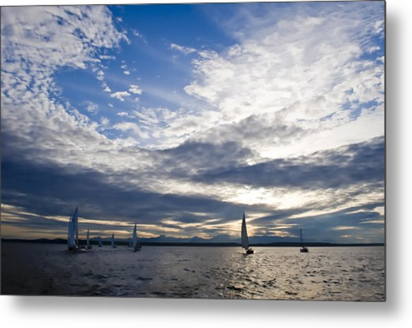 Sunset Sailing Metal Print by Tom Dowd