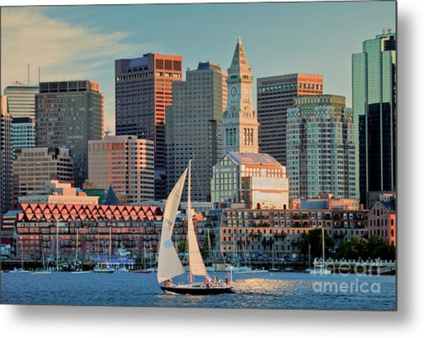 Sunset Sails On Boston Harbor Metal Print