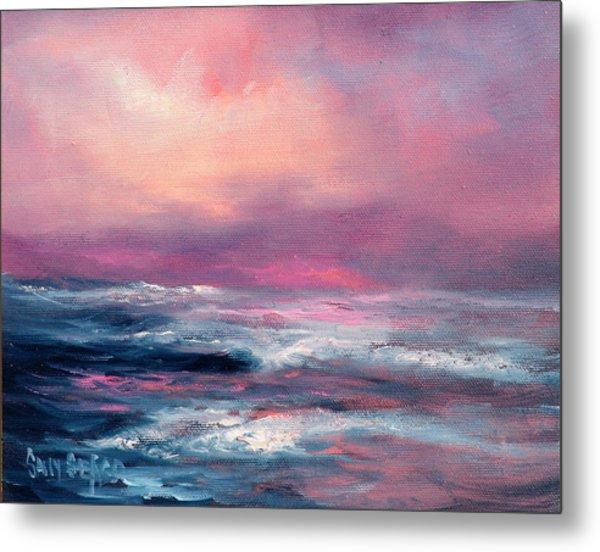Sunset Sea Metal Print by Sally Seago